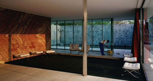 © Jeff Wall | Morning Cleaning, Mies van der Rohe Foundation, Barcelona 1999 Transparency in light box 187 x 351 cm