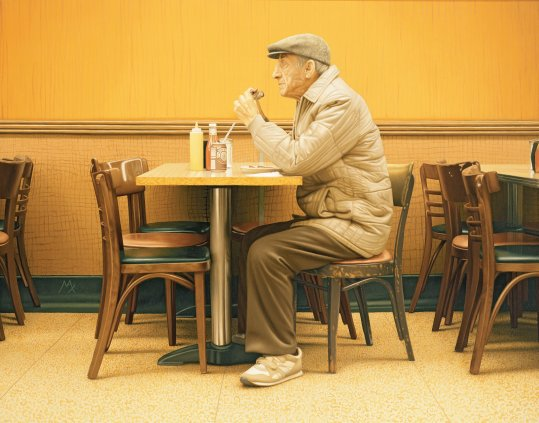 "© Max Ferguson, ""My Father in Katz's"", 2005. Courtesy of the Bridgeman Art Library"